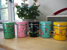 Load image into Gallery viewer, Hand Painted Kashmir Enamelware Large Floral Spice Tea Tin Set x 5
