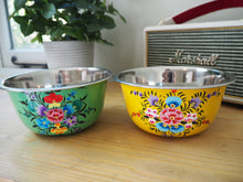 Load image into Gallery viewer, Hand Painted Kashmir Enamelware Floral Kitsch Ice Cream Cereal Bowl Set x 4