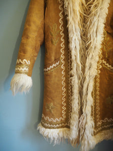 Vintage Indian Hand Block Printed Rare Hippie Phool Cotton Dress & Afghan Coat Set