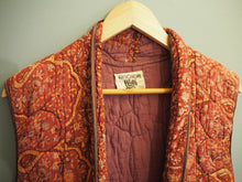 Load image into Gallery viewer, Vintage Indian Hand Block Printed Very Rare Anokhi Quilted Duster Coat Longline Gilet Vest