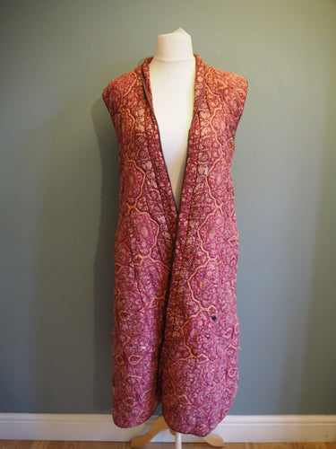 Vintage Indian Hand Block Printed Very Rare Anokhi Quilted Duster Coat Longline Gilet Vest