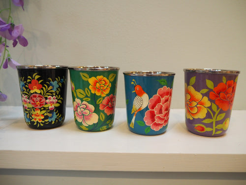 Hand Painted Kashmir Enamelware Floral Kitsch Small Tumbler Set x 4