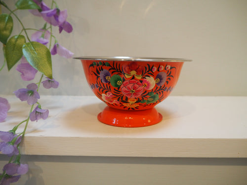 Hand Painted Kashmir Enamelware Floral Ice Cream Bowl