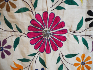 Vintage Indian Gujarat Embroidered Canopy Textile Wall Hanging