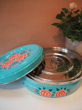 Load image into Gallery viewer, Hand Painted Kashmir Enamelware Floral Kitsch Masala Dabba/Spice Box