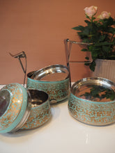 Load image into Gallery viewer, Hand Painted Kashmir Enamelware Floral Kitsch Glamping Large Tiffin