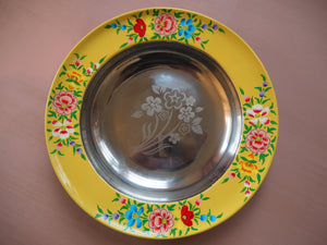 Hand Painted Kashmir Enamelware Floral Kitsch Plate