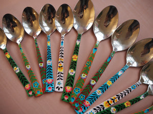 Hand Painted Kashmir Enamelware Floral Kitsch Kitchen Cutlery Set of 20