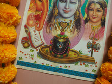 Load image into Gallery viewer, Vintage Large Hindu Ganesh, Shiva & Parvati Devotional Puja Print Lithograph