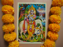 Load image into Gallery viewer, Vintage Hindu Krishna Devotional Puja Print Lithograph