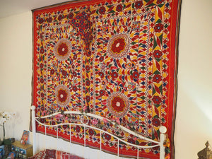 Vintage Indian Gujarat Embroidered Mirrored Sacred Cow Blanket Textile Wall Hanging