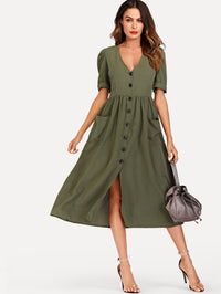Single Breasted Roll Up Sleeve Dress