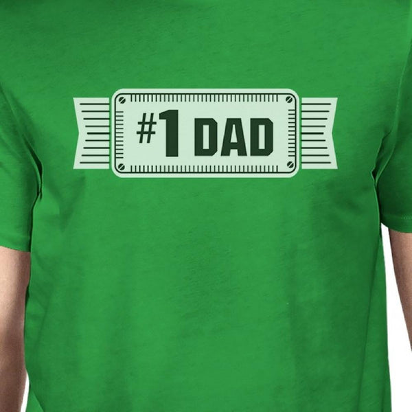 #1 Dad Mens Green Funny Fathers Day Graphic Shirt