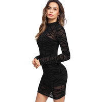 Women Sexy Bodycon Dress Black Long Sleeve Stand Collar