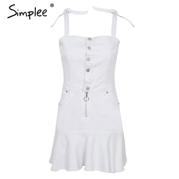Simplee Strap zipper denim dress women Ruffle button white dress jeans