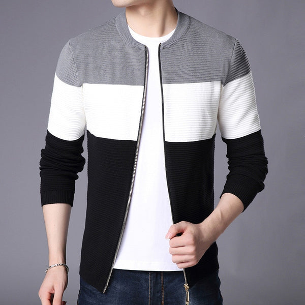 Cardigan Sweater Zipper Patchwork Knitted Casual Jacket Streetwear