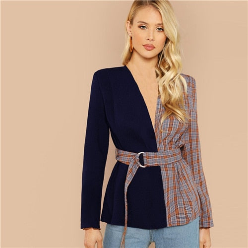 ulticolor Elegant Office Lady Two Tone Belted Plaid Regular Fit Fashion Coat