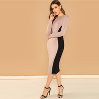 Pink Going Out Color Block Pencil Bodycon Round Neck Long Sleeve Slim Dress