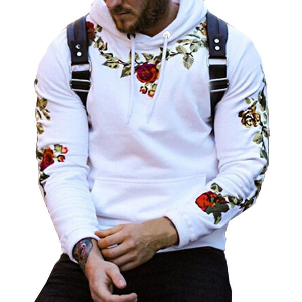 Men Sweatshirts Hoodies Embroidery Casual Pullover Joggers