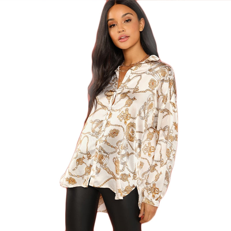 White Casual Chain Print Button Stand Collar Long Sleeve