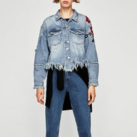 Women Denim Jacket Floral Embroidery Ripped Fringe Long Sleeve Casual Loose Jeans