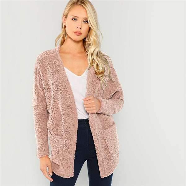 Pink Patch Pocket Open-Front Teddy Coat Plain Long Sleeve Outerwear