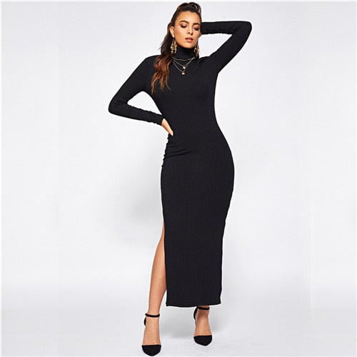 Black Office Lady Solid Split Side Rib Knit Fitted High Neck Long Sleeve Dress