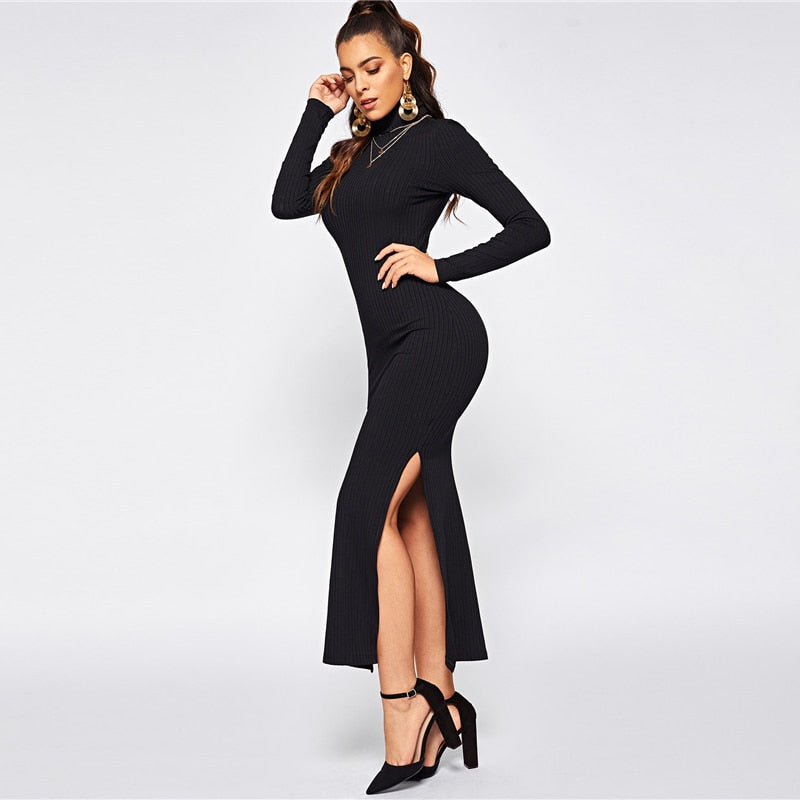 c4461c2bd9 Black Office Lady Solid Split Side Rib Knit Fitted High Neck Long Sleeve  Dress