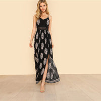 Lace Waist Split Front Cami Dress Women V Neck Spaghetti Strap Sleeveless Maxi Dress 2018 Summer Tribal High Waist Dress