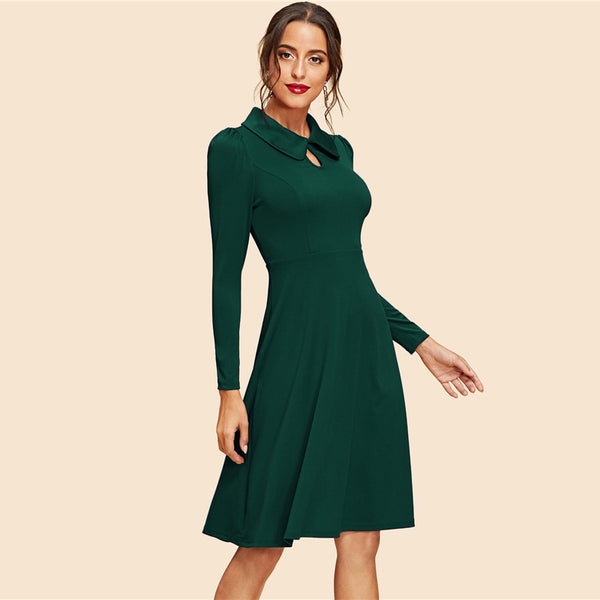 Green Keyhole Front Flare Dress