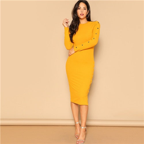 Ginger Office Lady Snap Button Dress