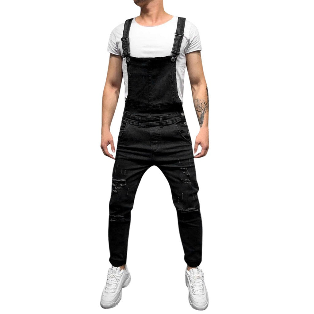 Men's Overall Casual Jumpsuit Jeans Wash Broken Pocket Trousers Suspender Pants