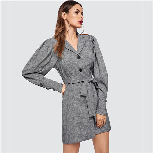 Streetwear Grey Puff Sleeve Buttoned Marled Knit Coat
