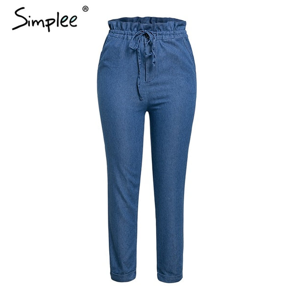 Simplee Casual blue denim women jeans pants plus size