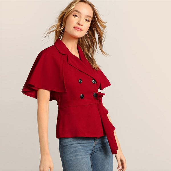 Burgundy Notched Collar Double Breasted Belted Cape Trench Blouse