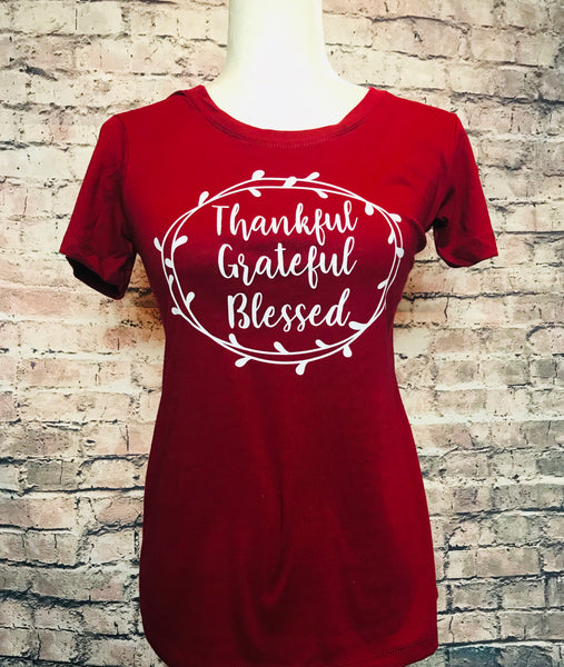 Thankful, grateful, blessed tshirt
