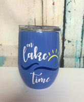 On lake time wine tumbler