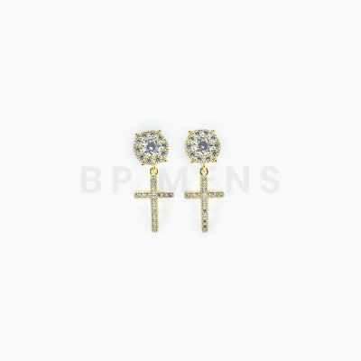 925 Gold Cross Stud Earrings - BERNA PECI JEWELRY