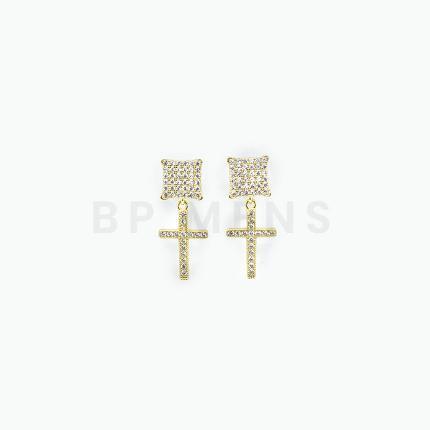 Square Gold Cross Stud Earrings - BERNA PECI JEWELRY