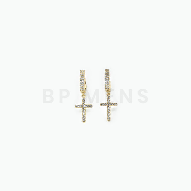 Gold Mini Cross Hoops - BERNA PECI JEWELRY