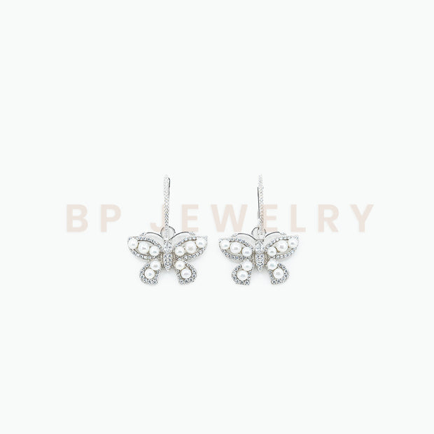 Pearl Diamond Hoops - BERNA PECI JEWELRY