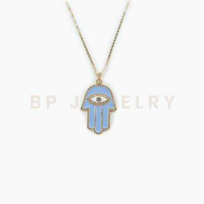 Blue Protection Hamsa Chain - BERNA PECI JEWELRY