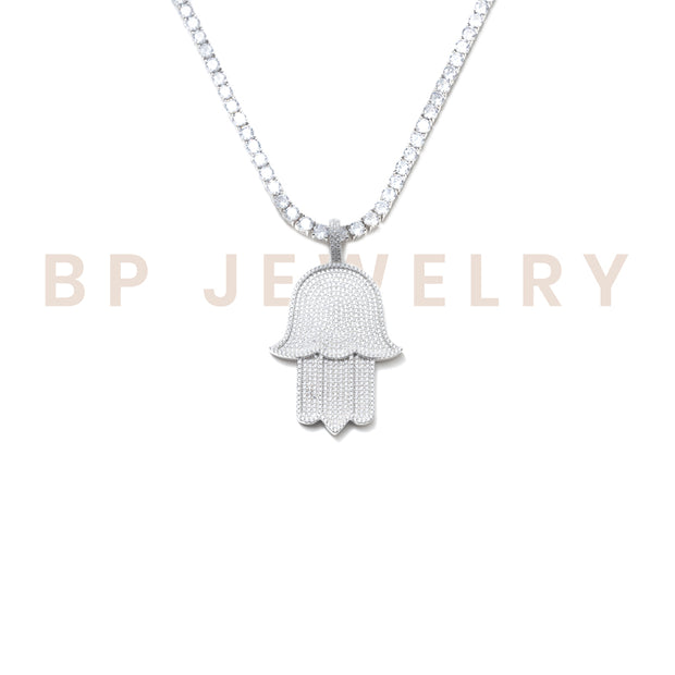 Large Crystal Hamsa Silver Set - BERNA PECI JEWELRY