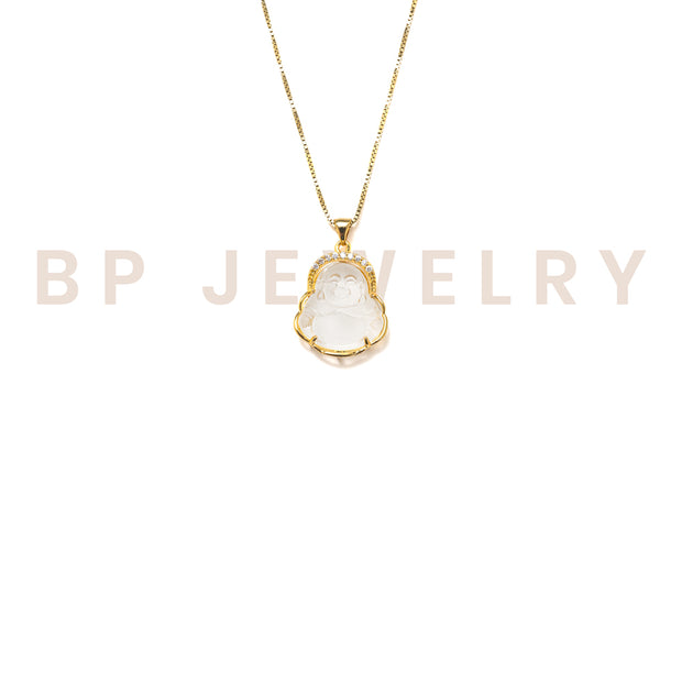 New Gold Crystal Buddha Necklace - BERNA PECI JEWELRY