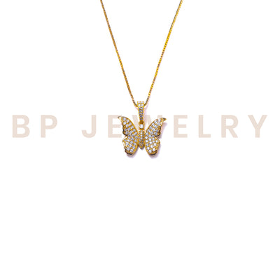 Mini Gold Crystal Butterfly Necklace - BERNA PECI JEWELRY