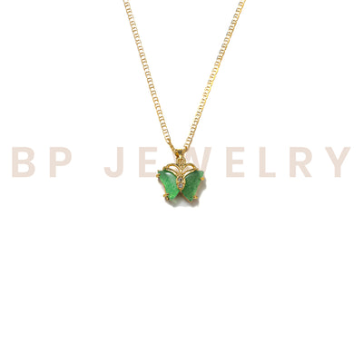 Mini Jade Butterfly Necklace - BERNA PECI JEWELRY