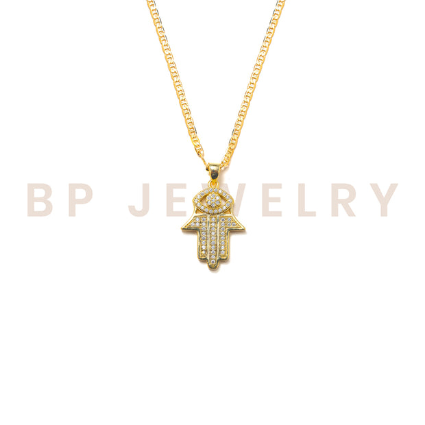 Mini Gold Crystal Hamsa Chain - BERNA PECI JEWELRY