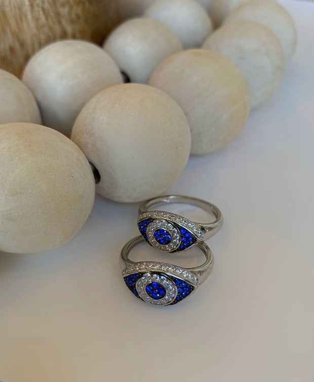 Silver Essential Evil Eye Protection Ring - BERNA PECI JEWELRY