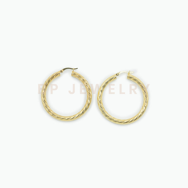 Medium Luxury Gold Hoops - BERNA PECI JEWELRY