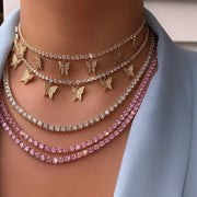BP Baby Pink Tennis Chain Necklace - BERNA PECI JEWELRY